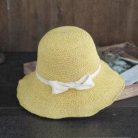 简约蝴蝶结可折叠太阳帽子休闲度假遮阳凉帽柔软细钩针草帽女