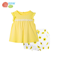 贝贝怡童装女童短袖套装夏季纯棉透气婴儿衣服宝宝2件套
