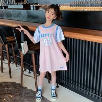 女童连衣裙夏装女孩中大童假两件T恤裙儿童夏季裙子