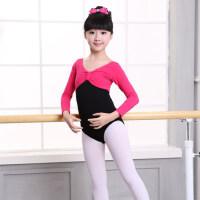儿童舞蹈服练功服女童长袖拼接连体服女孩芭蕾舞服装