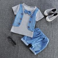 童装男童套装1夏季2儿童背心3宝宝4衣服0-5岁小孩短袖棉两件套 灰色 BB牛仔马甲短袖
