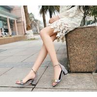 凉鞋女高跟夏罗马鞋中空露趾一字扣粗跟休闲女鞋