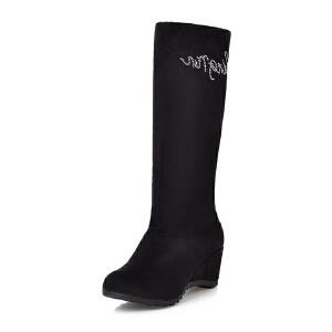 ELEISE美国艾蕾莎新品秋冬150-15-31韩版磨砂绒面坡跟高跟女士女靴中筒靴