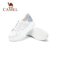 camel骆驼女鞋2019春夏新品格力特时尚撞色牛皮小白鞋休闲平底板鞋