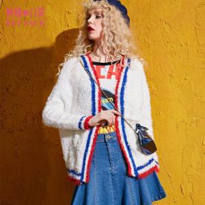 妖精的口袋梅子新说秋冬装新款宽松撞色短款开衫外套毛衣女