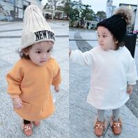 婴儿衣服1岁3个月男宝宝韩版套头卫衣中小童外出上衣秋冬装