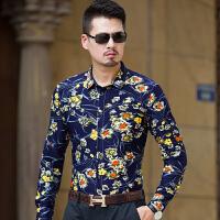 春秋季新品中年男士长袖花衬衫加肥加大尺码青年潮流潮男帅哥衬衣