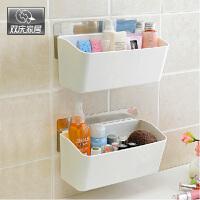 双庆吸盘置物架卫生间厨房置物架收纳架壁挂浴室塑料置物架5052