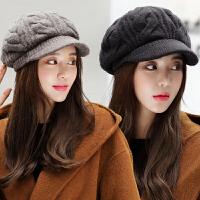 帽子女冬天时尚韩版英伦百搭潮保暖针织毛线帽秋冬女士鸭舌贝雷帽