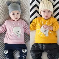 婴儿卫衣3加绒6宝宝9冬季2上衣5新生儿8满月小童外套01岁绒衫衣服