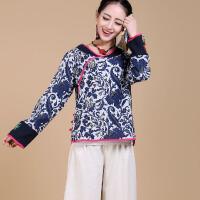 中国风棉麻旗袍上衣盘扣女装唐装女士夏装民族风上衣青花