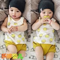 婴儿夏季背心冰激凌印花纯棉上衣宝宝无袖夏装3-6-9个月薄款0-1岁