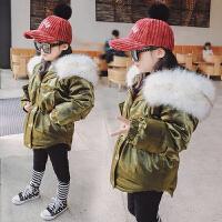 女童棉衣 冬季2017新款童装儿童手塞棉加厚毛领保暖棉袄外套