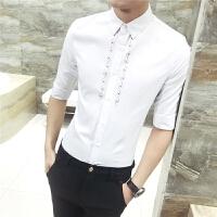 衬衫男士休闲免烫七分袖白衬衣青少年韩版修身发型师寸衫