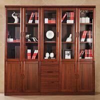 御品工匠 实木书柜组合书柜五门书柜二门三门带门书柜家具书架 乌金木色实木书房家具0612