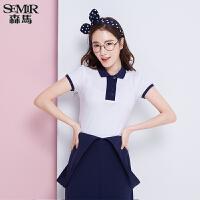 森马短袖T恤 夏装 女士简约休闲翻领拼接t恤POLO衫韩版潮