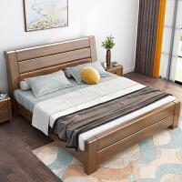 金丝胡桃木实木床储物床主卧1.8米新中式双人床1.5m简约现代白色 +2柜+乳胶床垫 1800mm*2000mm 箱框结