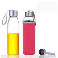红兔子 550毫升耐热玻璃水瓶创意车载玻璃杯子矿泉水瓶带盖茶杯