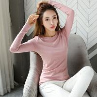 【限时秒杀】Coolmuch女士磨毛薄绒修身保暖纯色圆领长袖打底T恤衫JW3059