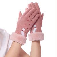 加绒加厚防风开车骑车触摸屏麂皮绒手套可爱保暖学生手套女