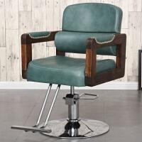 理发店椅子发廊专用实木复古剪发椅子升降旋转放倒椅可躺美发椅子 官方标配
