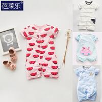 婴儿连体衣服宝宝新生儿哈衣0装满月潮款1短袖睡衣棉7新年