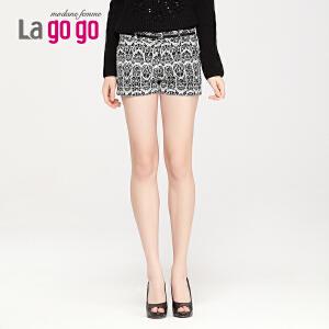 lagogo春装新款时尚个性花纹百搭短裤