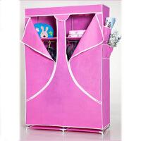 普润 加固简易衣柜 大号玫红色布衣橱 简易布衣柜折叠组合收纳整理柜