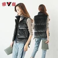 yaloo/雅鹿羽绒马甲短款2017新款 韩版鸭绒时尚休闲修身黑色外套 YS6101110