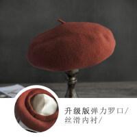 毛呢贝雷帽女文艺复古羊毛蓓蕾帽休闲画家帽韩版日系升级版