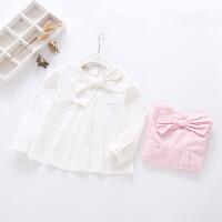 儿童白色纯棉衬衫春秋女宝宝新款衬衣女童蝴蝶结上衣长袖