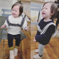 女童毛衣海军风婴幼儿女宝宝圆领套头加厚针织韩版17冬潮