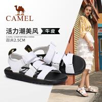 camel骆驼女鞋2019夏季新款ins潮鞋女真皮低跟休闲凉鞋网红平底凉鞋女