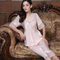 宽松短袖套装蕾丝镂空性感家居服七分裤两件套女睡衣V领