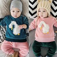 婴儿加绒上衣宝宝冬季卫衣绒衫外套新生儿满月男女小孩外出服01岁