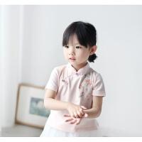 女童汉服套装夏季儿童短袖上衣裙子宝宝两件套女孩中国风复古唐装