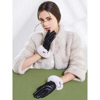 真皮手套女士户外加厚獭兔毛加绒羊皮保暖触屏骑行开车防寒