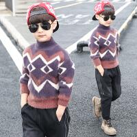 儿童中大童加绒高领水貂绒洋气打底衫潮童装男童毛衣