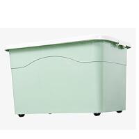 50L大号加厚塑料整理箱收纳箱储物箱周转箱 小熊收纳储物箱带滑百纳箱塑料整理箱玩具收纳箱子 白色粉盖 X8301-3