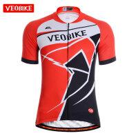 新款山地自行车短袖骑行服上衣 夏季男款单车骑行服饰上装 V16-01活力短袖上衣红色
