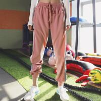 宽松运动裤女高腰收口小脚夜跑步长裤透气速干显瘦瑜伽健身裤