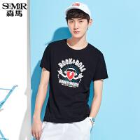 森马短袖T恤 夏装 男士纯棉直筒时尚印花针织衫韩版潮T男