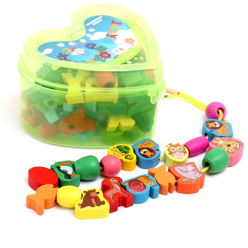 木制心型水果动物字母数字串珠儿童早教认知益智玩具串串乐