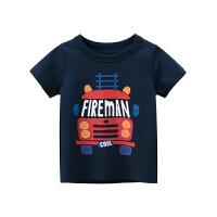 儿童短袖T恤男夏童季童装男孩宝宝卡通汽车印花打底衫