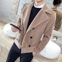 新款秋冬潮男呢子外套韩版双排扣夹克男士短款尼风衣男