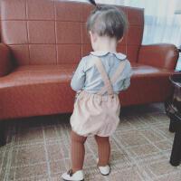 23直播 婴幼儿童装宝宝背带裤吊带裤休闲百搭款短裤子0-4岁春秋款