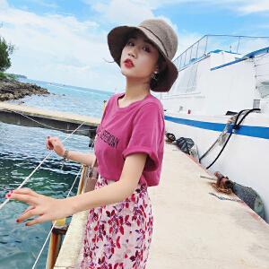 【T恤+半身裙两件套】女装夏装2018新款上衣潮 韩版宽松百搭字母粉色T恤女短袖