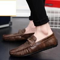 新品夏季男士豆豆鞋韩版时尚休闲皮鞋潮流软底懒人单鞋棕色开车鞋子男