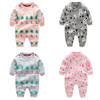 婴儿连体衣服春秋冬季新生周岁宝宝针织棉哈衣爬服0-3-6-9-12个月