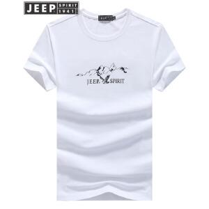 JEEP吉普夏装短袖t恤男潮流印花套头打底衫舒适纯棉透气圆领半袖t恤 T恤背心运动服装